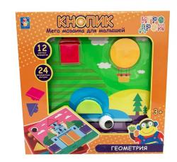 Мозаика для малышей из серии Игродром - Кнопик Геометрия 24 фигурки 12 трафаретов 1Toy Т16699