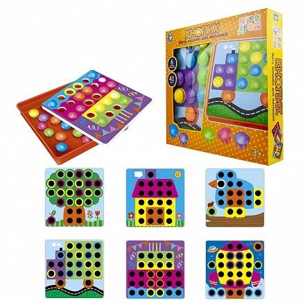 Мозаика для малышей Игродром - Кнопик 41 кнопка 6 трафаретов 1Toy Т16700