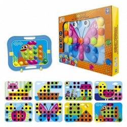 Мозаика для малышей из серии Игродром Кнопик 48 кнопочек и 8 трафаретов 1toy Т16701