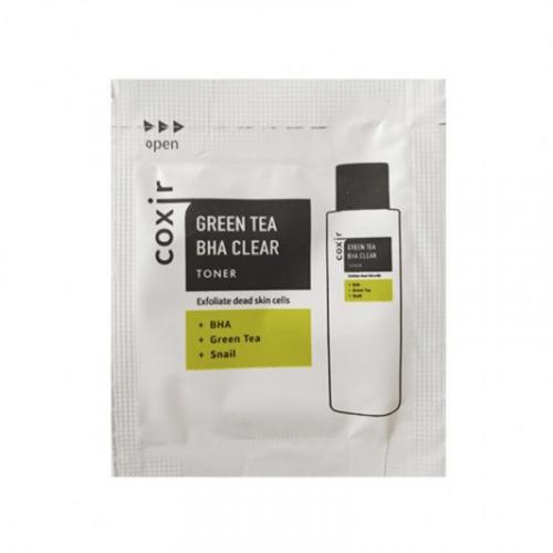 Тонер отшелушивающий с зеленым чаем и BHA-кислотами COXIR Greentea BHA Clear Toner sample 2мл 1шт