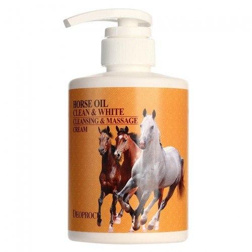 Очищающий массажный крем с лошадиным жиром DEOPROCE Clean & White Cleansing & Massage Cream Horse Oil 430g