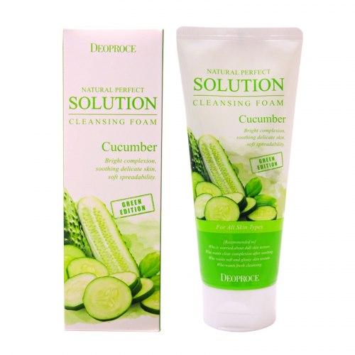Пенка для умывания освежающая с экстрактом огурца DEOPROCE Natural Perfect Solution Cleansing Foam Cucumber 170 гр