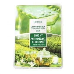 Маска тканевая антиоксидантная на основе экстрактов алое и зеленого чая DEOPROCE COLOR SYNERGY EFFECT SHEET MASK GREEN 20g