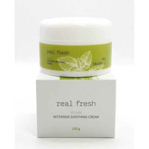 Крем для длительного увлажнения кожи всех типов DEOPROCE Real Fresh Vegan Intensive Soothing Cream, 100 гр