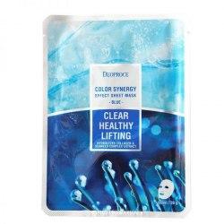 Маска тканевая с лифтинг эффектом, на основе морского коллагена DEOPROCE Color Synergy Effect Sheet Mask Blue 20g