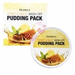 Маска для лица с мёдом и золотом DEOPROCE Honey & Gold Wash-Off Pudding Pack 110 г