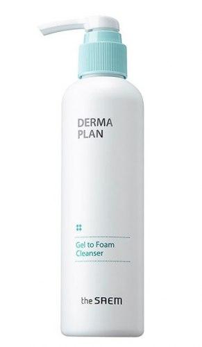 Гель-пена для умывания для сверх-чувствительной кожи THE SAEM Derma Plan Gel To Foam Cleanser 180мл