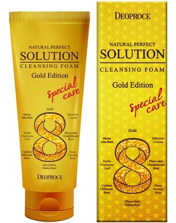 Пенка для умывания с золотом и восточными травами DEOPROCE Natural Perfect Solution Cleansing Foam Gold 170мл