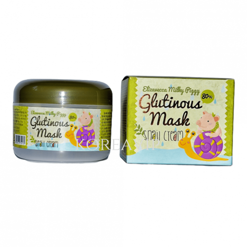 Крем-маска для лица ночная УЛИТОЧНЫЙ МУЦИН Milky Piggy Glutinous 80% Mask, 100 гр Elizavecca