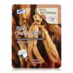 Тканевая маска для лица с экстрактом красного женьшеня Fresh Red Ginseng Mask Sheet 3W Clinic