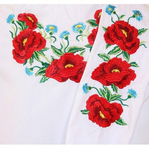 Серия детских вышитых блуз Маки