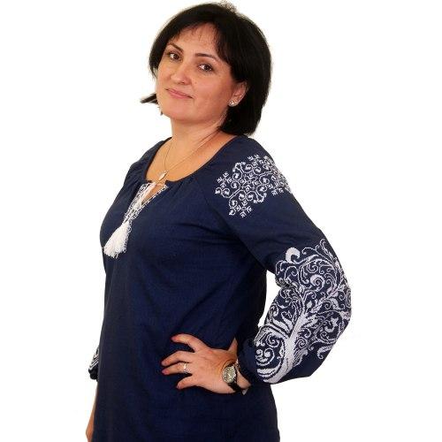 Вышитая блуза Ольга (синий лен)