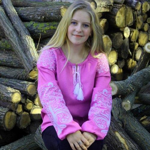 Вышитая блуза Ольга (фиолетовый лен)