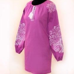 Женское вышитое платье Ольга (фиолетовый лен)