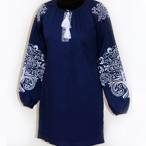 Женское вышитое платье Ольга (тёмно-синий лен)
