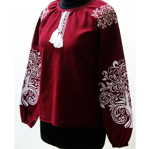 Вышитая блуза Ольга (вишнёвый лён)