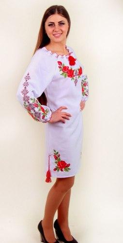 Женское вышитое платье Зоряна (белый лён)