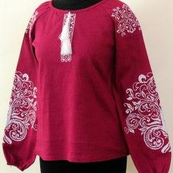 Вышитая блуза Ольга (Сиреневый лён)