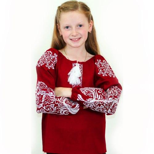Детская вышитая блуза Ольга на бордовом льне с белой вышивкой