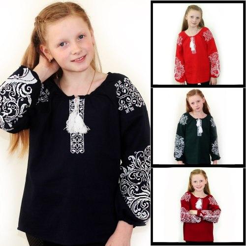 Детская вышитая блуза Ольга на красном льне с белой вышивкой