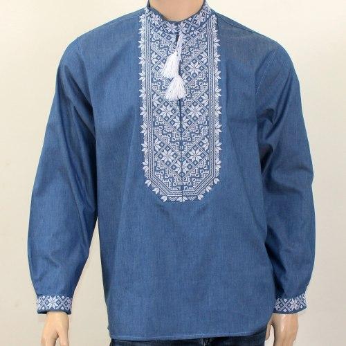 Мужская вышиванка Микола на джинсовой ткани