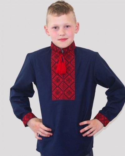 Детская вышиванка для мальчика Тимофей №5 синий