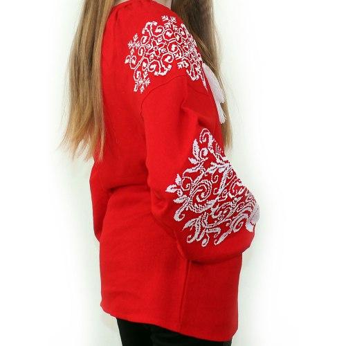 Вышитая блуза Ольга (красный лен)