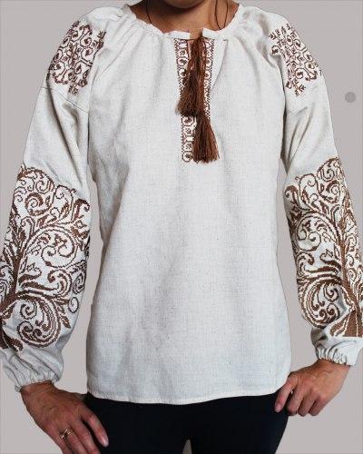 Детская вышитая блуза Ольга на сером льне со светло-коричневой вышивкой