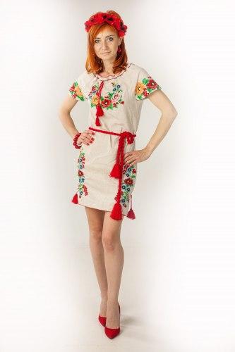 Женское вышитое платье Диана (короткий рукав)