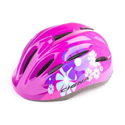 Шлем велосипедный детский Cigna WT-024 (чёрный/красный цветы)