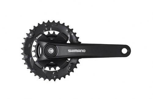 Система Shimano Altus, MT101, 175мм, для 2x9ск, Квадрат, 36/22, без защиты., цвет чёрный