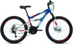 Велосипед Altair MTB FS 24 disc (2021) синий/красный