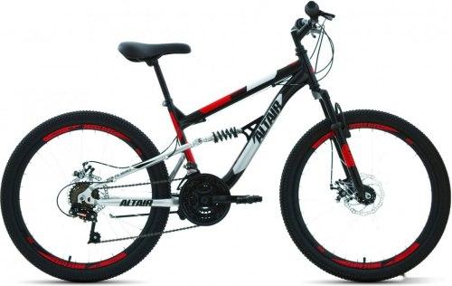 Велосипед Altair MTB FS 24 disc (2021) чёрный/красный