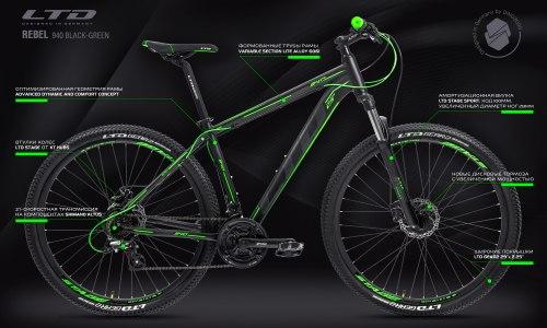 """Велосипед LTD Rebel 940 Black-Green 29"""" (2021)"""