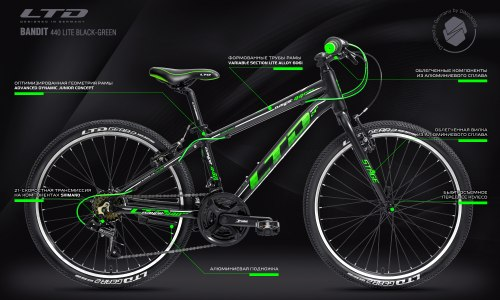 Велосипед LTD Bandit 440 Lite Black-Green (2021)