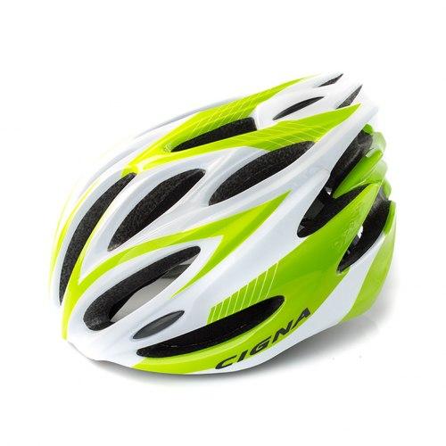 Шлем велосипедный Cigna WT-029 (серый/зелёный/белый)