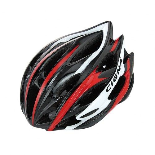 Шлем велосипедный Cigna WT-015 (чёрный/красный/белый)