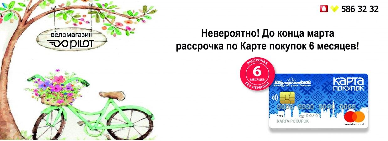Велосипеды в рассрочку по карте покупок на 6 месяцев.
