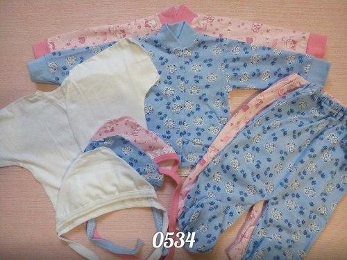 Комплект 5 предметов : кофта на кнопках + ползунки + распашонка распашная + чепчик цветной + чепчик белый, кулир (0534)