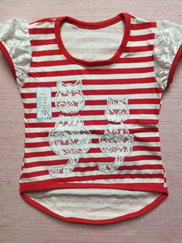 Блуза для девочек, кулир + гипюр, размер 52, 56 (0928)