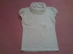 Блуза школьная, гипюр+вышивка, фуликра гладкокрашенная (стрейч кулир) (0140)