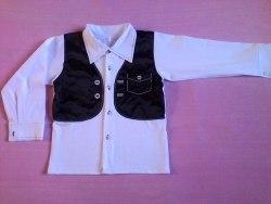 Рубашка школьная для мальчика, интерлок+атлас, вышивка (0143)