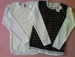 Блуза школьная, гипюр спереди черный и белый, фуликра отбеленная (0185)