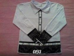 Блуза школьная, стрейч кулир (фуликра), гипюр+вышивка (0193)