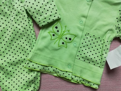 Комплект ясельный для девочки: кофта на кнопках, ползунки евро, интерлок, рост 56 (0740-01)