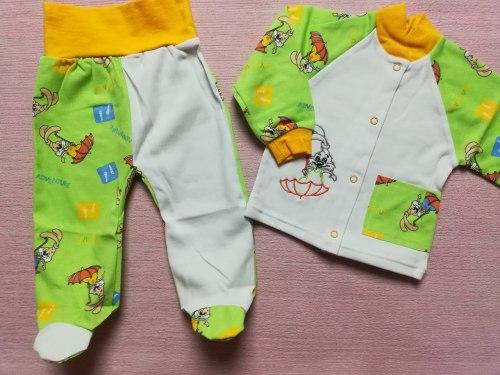 Комплект комбинированный: кофта на кнопках, ползунки евро, вышивка, интерлок, рост 68 (0739-02)