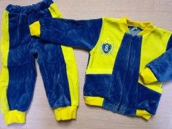 Костюм комбинированный с карманами, велюр, вышивка, размер 48 (0806-01)
