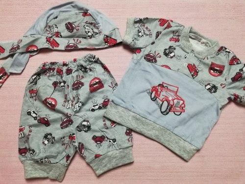 Комплект комбинированный для мальчиков : футболка с вышивкой на кнопках, шорты, бандана, кулир, размер 52 (0798-01)