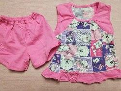Пижама летняя для девочек, кулир, размер 52, 56, 60 (0137-02)