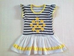 Платье комбинированное, полоска набивная, кулир (0132)